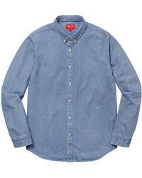 f0d94c70fe Lyst - Supreme Checkered Denim Shirt Blue in Blue for Men