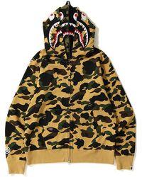 98fdacb1 A Bathing Ape Shark Side Zip Wide Long Length Pullover Hoodie Black in  Black for Men - Lyst