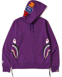 906e1278 A Bathing Ape Shark Wide Half Zip Pullover Hoodie Orange in Orange for Men  - Lyst