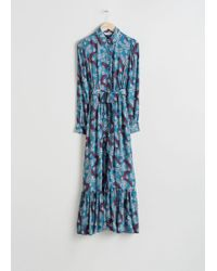 & Other Stories - Belted Ruffle Midi Dress - Lyst