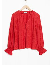 & Other Stories - V-neck Blouse With Trumpet Sleeves - Lyst
