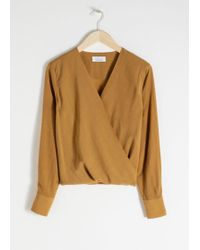 & Other Stories - Draped Plunging Blouse - Lyst