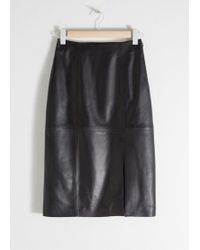 & Other Stories - Midi Leather Pencil Skirt - Lyst