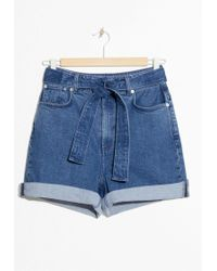 & Other Stories - Belted Denim Shorts - Lyst
