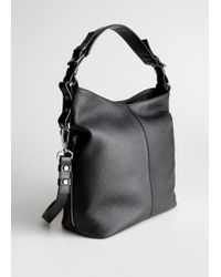 & Other Stories Grain Leather Hobo Bag - Black