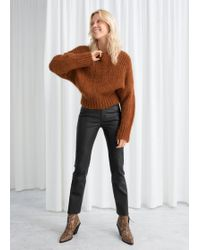 & Other Stories - High Waisted Leather Trousers - Lyst