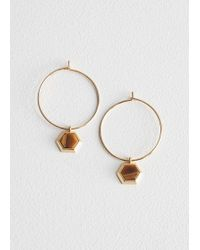 & Other Stories - Hexagon Charm Hoops - Lyst