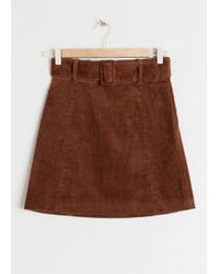 & Other Stories - Belted Corduroy Mini Skirt - Lyst