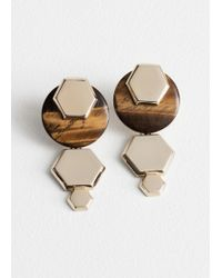 & Other Stories - Hexagon Tigers Eye Earrings - Lyst