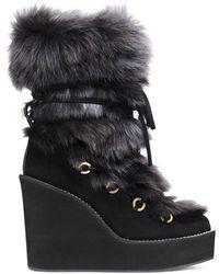 743cdff67afb Lyst - Stuart Weitzman Nikita Mid-calf Fur Wedge Boots in Black