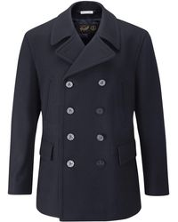 Gloverall - Churchill Reefer Navy Wool Coat - Lyst