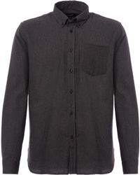 Gloverall - Brushed Twill Shirt - Charcoal - Lyst