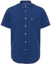 Lacoste - Marine Gingham Poplin Shirt - Lyst