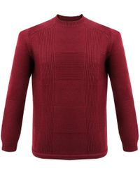 Folk - Folk Check Knit Burgundy Wool Jumper - Lyst