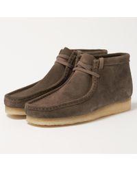 Clarks | Grey Suede Wallabee Boot | Lyst