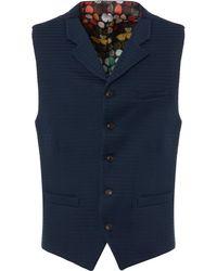 Gibson London - Navy Textured Waistcoat - Lyst