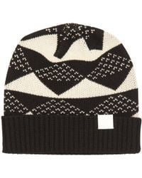White Mountaineering - Black Triangle Jacquard Knitted Beanie - Lyst