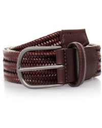 Andersons   Anderson's Woven Wine Braided Leather Belt   Lyst