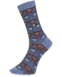 Burlington - Burlington Fashion Blue Triangle Socks 20521 - Lyst