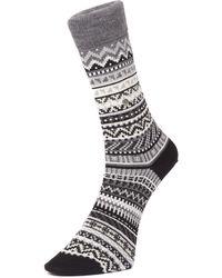 Burlington - Black Fair Isle Socks - Lyst