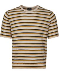 a738ef33d PS by Paul Smith - Striped Crew Neck T-shirt - Ivory - Lyst