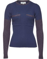 Lyst - KENZO Fitted Knit Sweater With Ruffled Trim in Black e13bf6442
