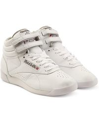 Reebok - Freestyle Hi Leather Sneakers - Lyst
