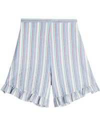 See By Chloé - Striped Cotton Shorts - Lyst