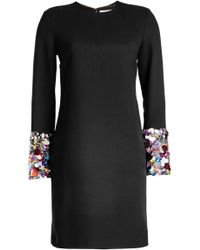 Victoria, Victoria Beckham - Crepe Dress With Sequin-embellished Cuffs - Lyst
