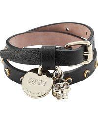 Alexander McQueen - Embellished Leather Wrap Bracelet - Lyst