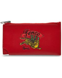 KENZO - Zipped Leather Cardholder - Lyst