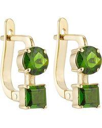 Ileana Makri - 18k Yelow Gold Earrings With Chrome Diopside - Lyst