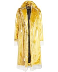 CALVIN KLEIN 205W39NYC - Faux Fur Coat With Transparent Overlay - Lyst