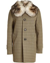 Marc Jacobs - Printed Coat With Fur Collar - Lyst