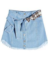 SJYP - Denim Skirt With Printed Detail - Lyst