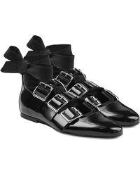 Jil Sander - Buckle Strap Patent Leather Ballerinas - Lyst