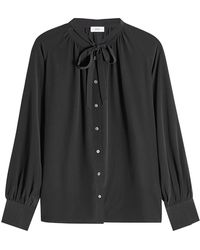 Closed - Silk Blouse With Bow - Lyst