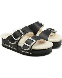 Alexander McQueen - Leather Sandals With Shearling Insole - Lyst