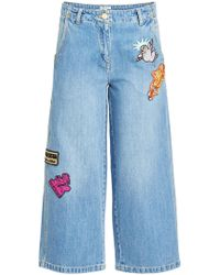 KENZO - Cropped Wide-leg Jeans With Badges - Lyst
