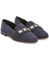 Max Mara - Claire Suede Loafers With Crystals - Lyst