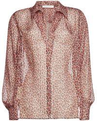 Philosophy Di Lorenzo Serafini - Animal Print Silk Blouse With Metallic Thread - Lyst