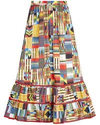 Stella Jean - Batik Printed Cotton Skirt - Lyst