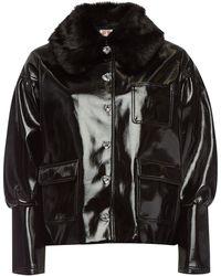 Shrimps - Liam Patent Jacket With Faux Fur Collar - Lyst