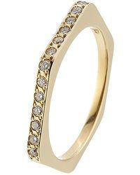 Ileana Makri - 18kt Yellow Gold Ring With White Diamonds - Lyst