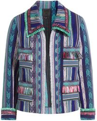 Anna Sui - Serape Striped Jacket With Fringe - Lyst