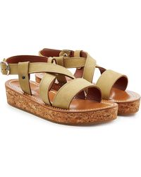 K. Jacques - Leather Sandals With Espadrille Wedge - Lyst