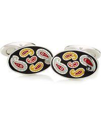 Etro - Silver Cufflinks With Enamel Paisley Patterning - Lyst