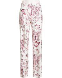 Ferragamo - Printed Silk Trousers - Lyst