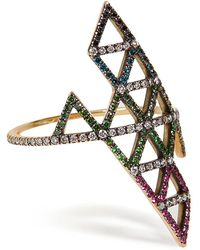 Lito | Gold, Diamond, And Tsavorite Triangle Ring | Lyst