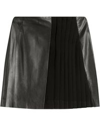 Mugler - Mini Skirt With Leather - Lyst